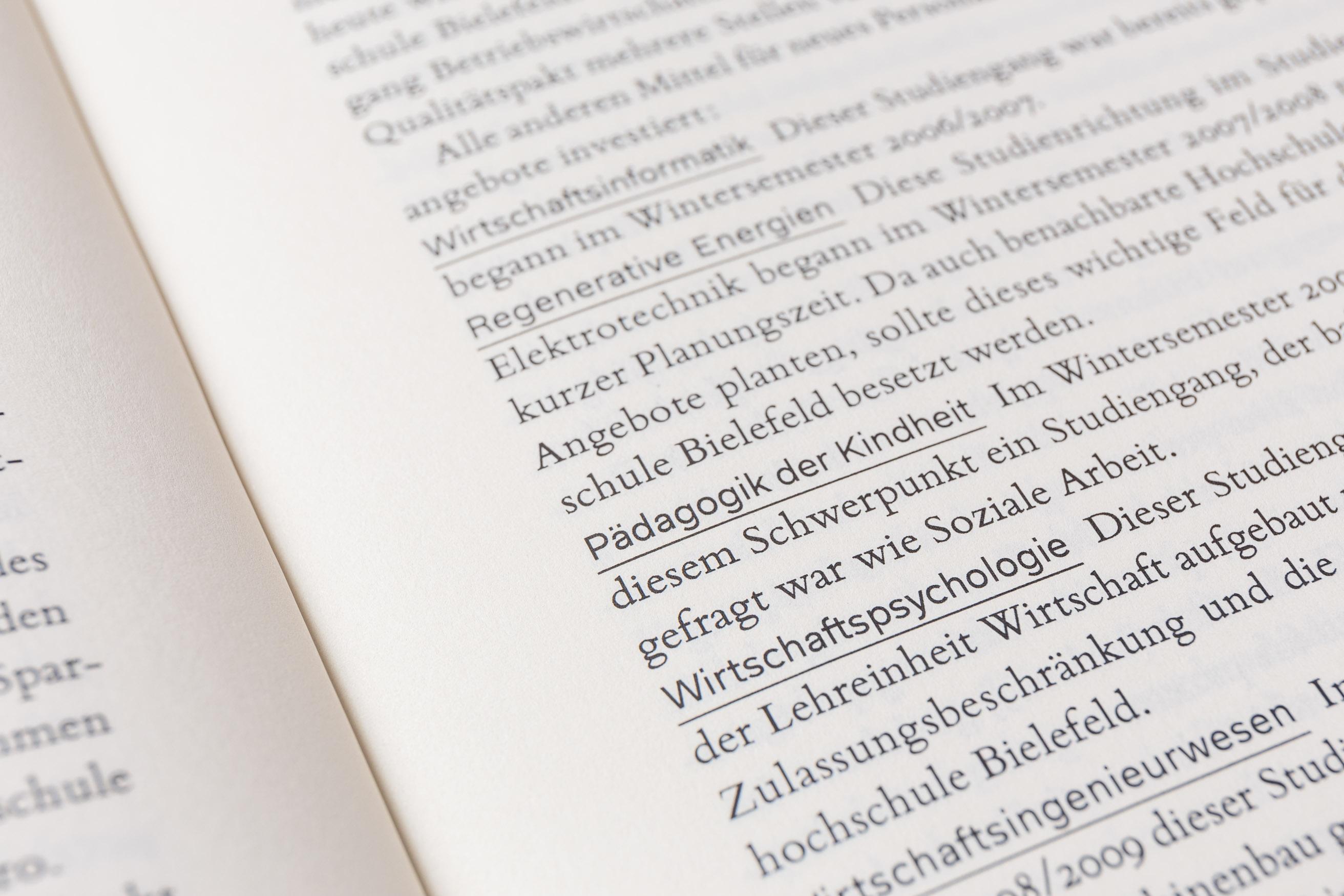 Detail Schriftmischung, Bildung anführen