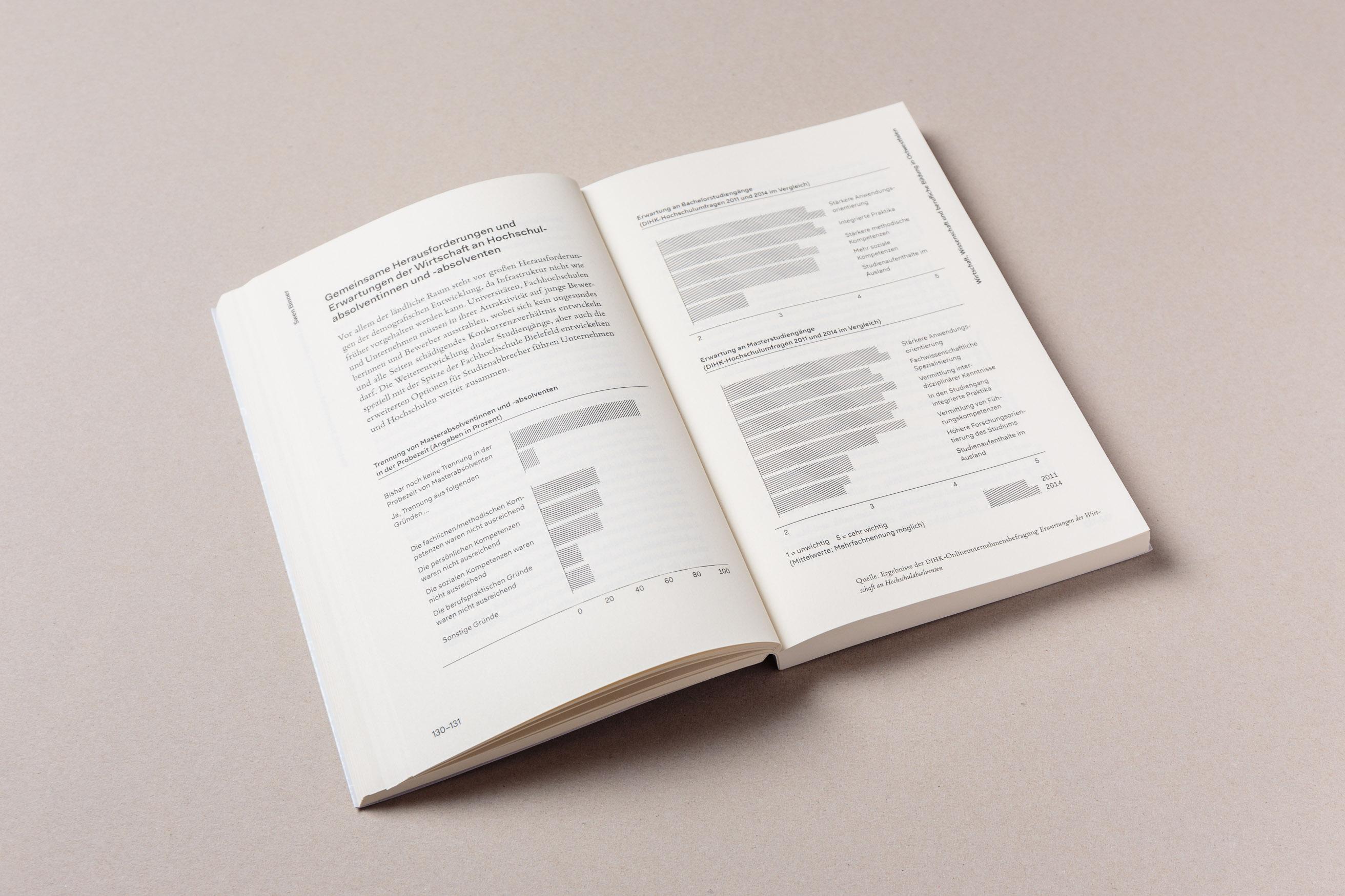 Doppelseite mit Text und Infografiken, Bildung anführen