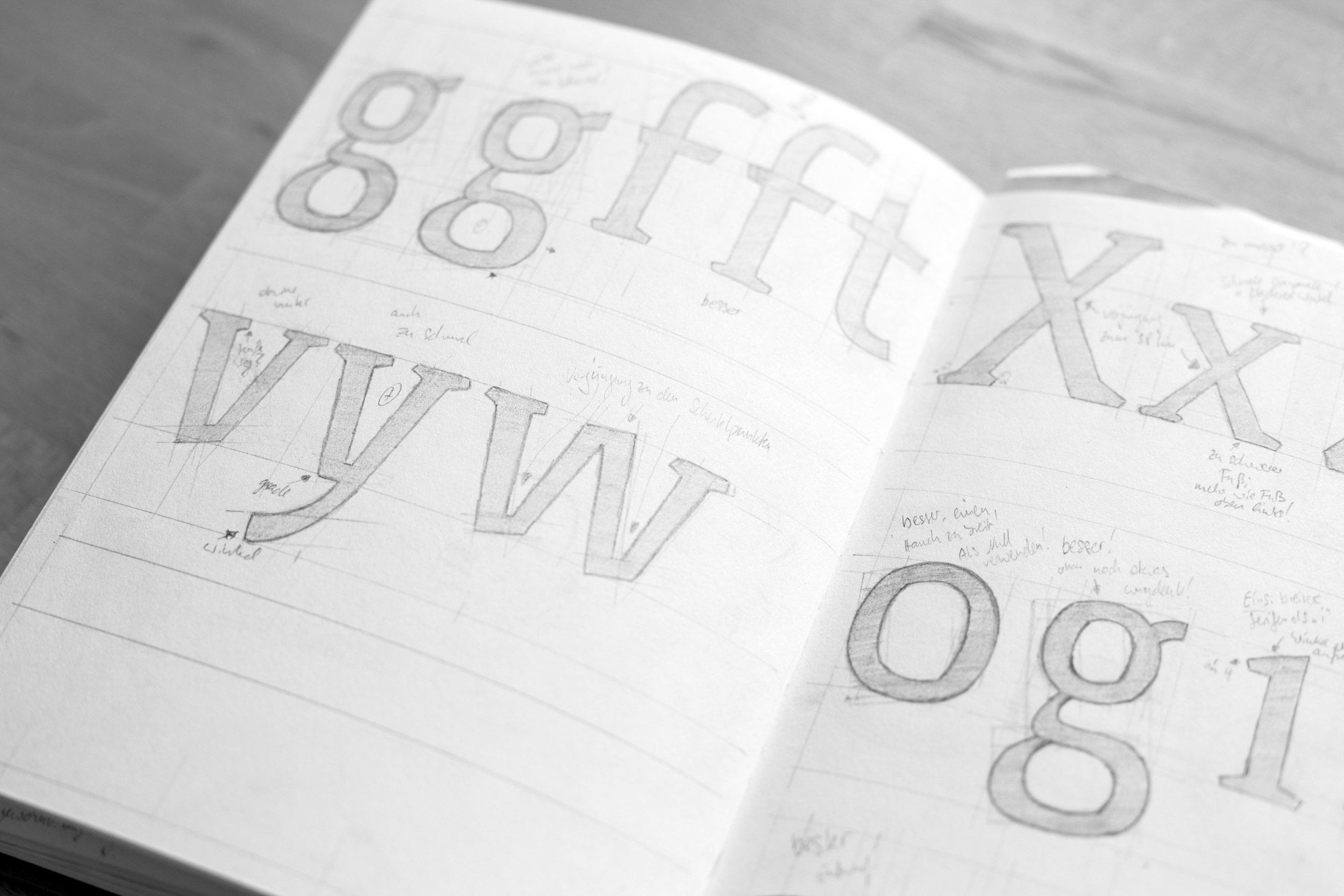 Erste Skizzen: Schriftgestaltung Nordwind