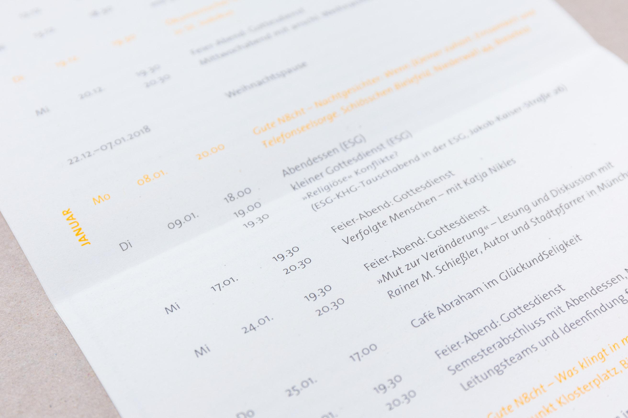 KHG Bielefeld Semesterprogramm, Detail Kalender