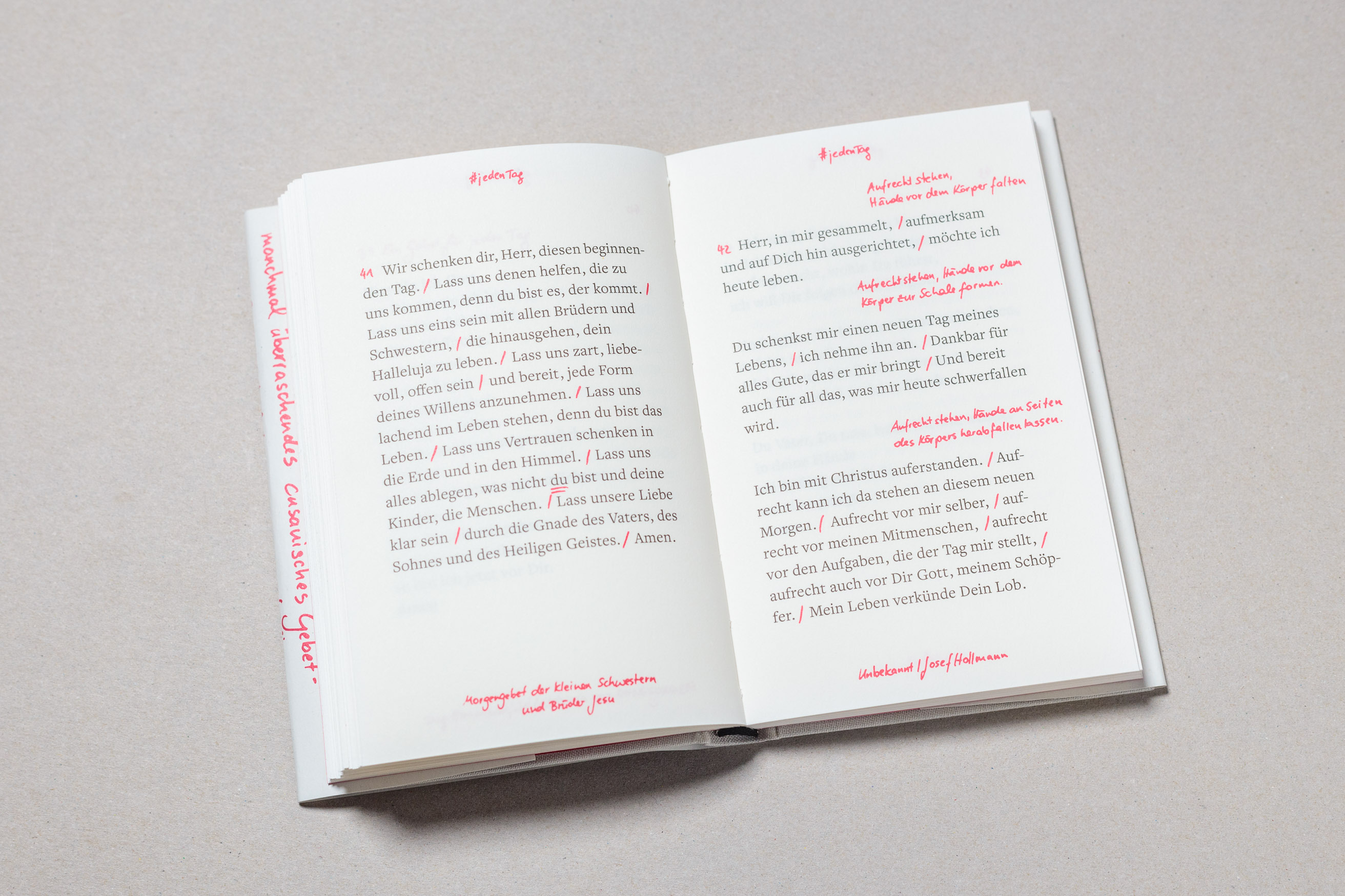 "Spread of ""Gebet!"", a prayer book for the scholars of the German Episcopal foundation Cusanuswerk. Set in Freight Text, with Pantone spot color, embossing, linen binding and handwritten content. Designed by Johannes Pistorius"
